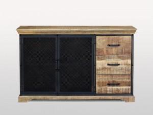 Metal Factory Industrial Indian Solid Wood LENOX II Sideboard