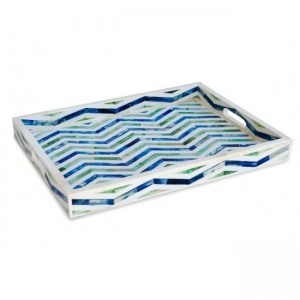 Maaya Bone Inlay Serving Tray - Rectangular Pattern Blue  49x39x5cm