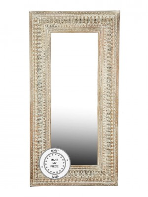 Indian Hand Carved Large Oriental Mirror White 100x180 cm