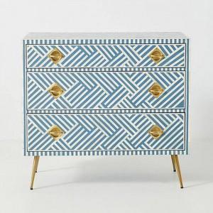 Maaya Bone Inlay Chest Of Drawer Blue White Geometric