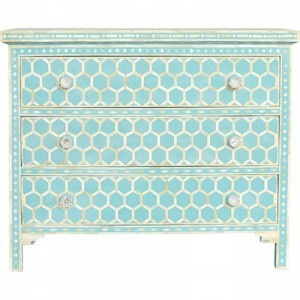 Maaya Bone Inlay Chest of Drawer sideboard Blue Honeycomb