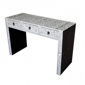 Pandora Bone Inlay Grey Floral Console Table
