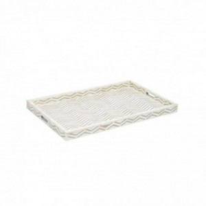 Maaya Bone Inlay Serving Tray - Chevron Design Grey 49x39x5cm
