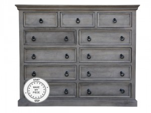 Indian Solid Wood Chest Of Drawers Cabinet Grey
