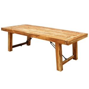 Rustic Solid Wood Extendable Dining Room Table Natural