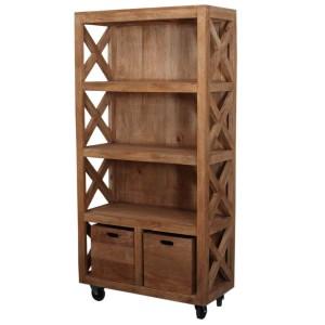Dinuba 4 Open Shelf Modern Rustic Solid Wood Farmhouse Bookcase