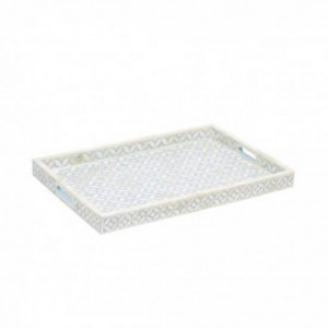 Maaya Bone Inlay Serving Tray - Geometric Design Blue 49x39x5cm