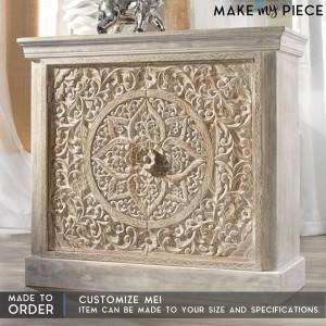 Paris Carved Solid wood Sideboard Whitewash vanity
