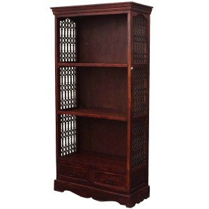 Cupertino 3 Open Shelf Rustic Solid Wood Office Bookcase With Drawers