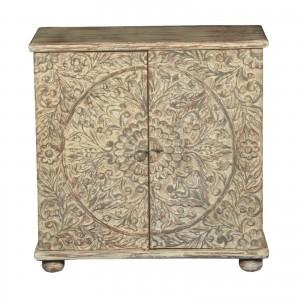 Mandala Hand Carved Solid wood 2 door Sideboard Whitewash 90x40x90cm