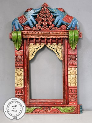 Mughal Hand Painted Indian Wood Carved And Colorful Frame