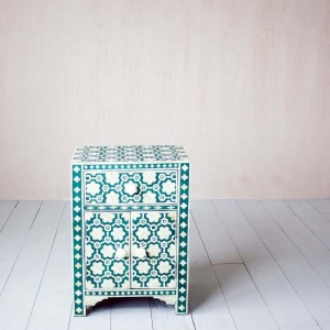 Maaya Bone Inlay Bedside table Green Floral