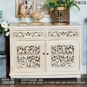 Jali Carved Solid wood Sideboard Whitewash
