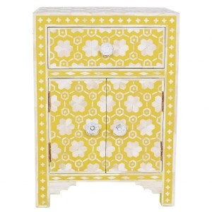 Maaya Bone inlay Floral drawer bedside lamp table Yellow