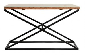 Live Edge X Design Table Industrial Console Table Rectangular 130x40x80cm