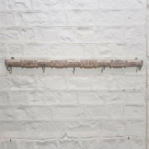 Hand Carved Indian Solid Wood Wall Decor Large Hanger Whitewash 164cm