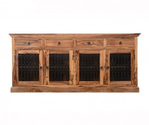 Indian Wooden Large Jali Sideboard With Doors & Drawers Natural