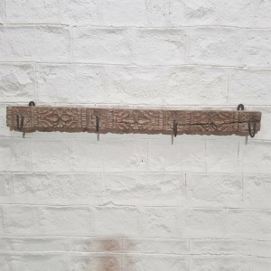 Floral Hand Carved Indian Solid Wood Wall Hanger Natural 130cm