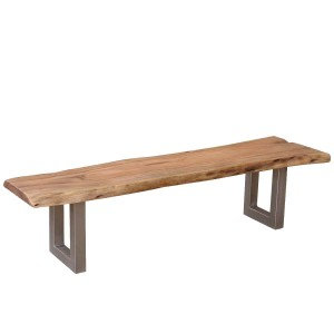 Rustic Industrial Solid Wood Iron Base Organic Live Edge Bench