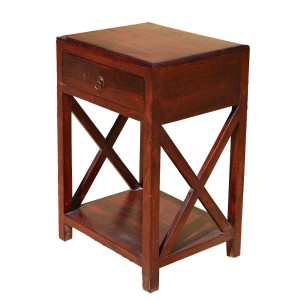 X-Design Indian Solid Wood Side Lamp Table With Drawer