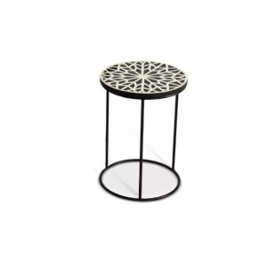 Maaya Bone Inlay Floral White Black Metal Leg Side Table