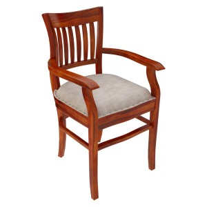 Handcrafted Rosewood Leather Cushion Dining Arm Chair Honey