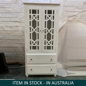 Hand Craved Indian Mango Wood Cabinet With French Arched Doors White