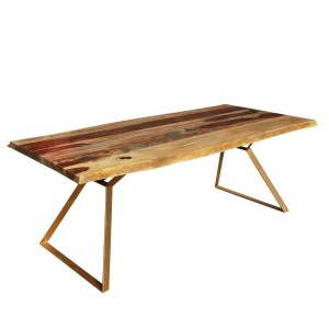 Live Edge Contemporary Solid Wood & Iron Dining Table Natural