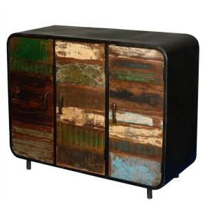 Miller Industrial Indian Reclaimed Wood 3 Door Buffet Sideboard