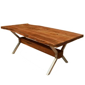 Hankin Rustic Solid Wood & Iron Live Edge Dining Table