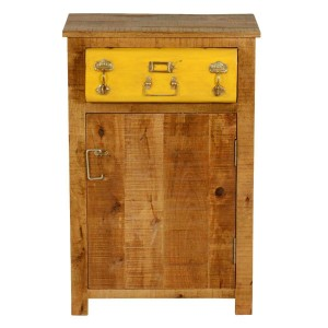 Cromer Indian Solid Wood Single Drawer Freestanding Side Table