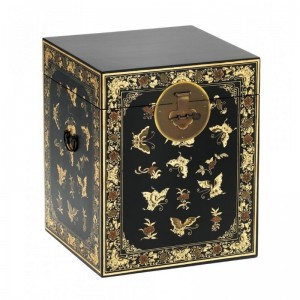 Golden Dragon Oriental Painted Solid Wood Decorated Black Chest 45x45x50cm