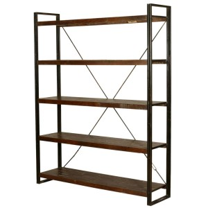 Industrial French 5 Open Shelf Rustic Reclaimed Wood Etagere Bookcase