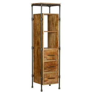 Calgary 4 Open Shelf Industrial Tall Narrow Bookcase With Drawers