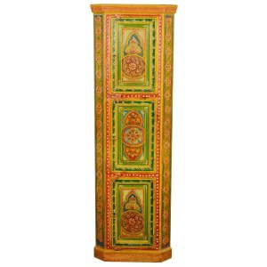 Mughal Garden Indian Solid Wood Hand Painted Corner Display Cabinet