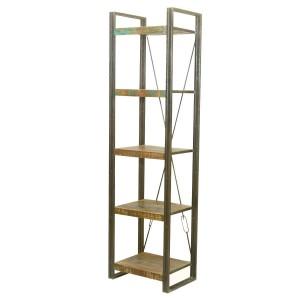 Foxfield 5 Open Shelf Rustic Reclaimed Wood Etagere Bookcase