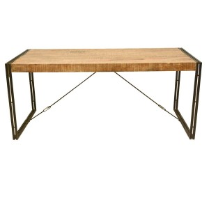 Large Rustic Industrial Style Mango Wood and Iron Dining Table Natural