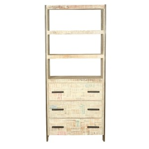 Miller Industrial Solid Wood 3 Open Shelf Bookcase With Drawers White