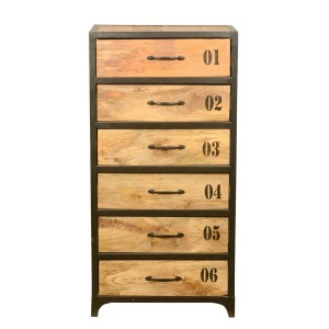 Earth Industrial Indian Mango Wood 6 Tall Drawer Chest