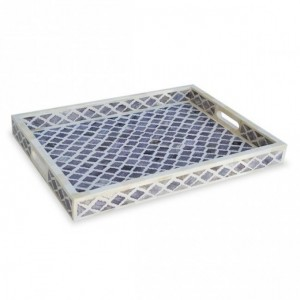 Maaya Bone Inlay Serving Tray - Moroccan Design Grey  49x39x5cm