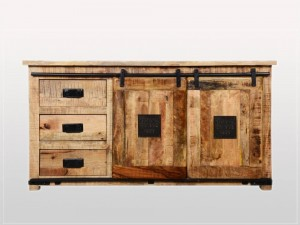 Cromer Industrial Indian Solid Wood Works Est 2-Door 3-Drawers Sideboard