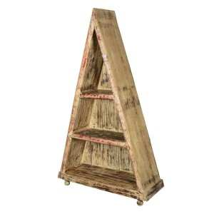 Elgin 3 Open Shelf Rustic Reclaimed Wood Traingular Bookcase