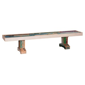 "Primary Colors Distressed 87"" Reclaimed Wood 2-Pedestal Bench"