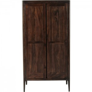 Boston Taper Contemporary Solid Wood 2 Door Wardrobe Cabinet Walnut 195 cm