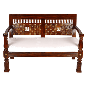 Mogra Antique Brass Work Sofa 2 Seater Brass Work Tribal Design