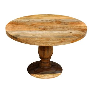 Rustic Solid Mango Wood Round Pedestal Farmhouse Dining Table