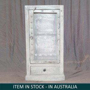 Miller Industrial Indian Solid Wood Small Display Cabinet White