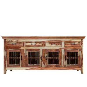 Takat Metal Solid Wood 4 Door 4 Drawer Large Buffet Cabinet