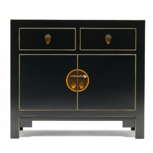 Golden Dragon Oriental Painted Solid Wood Black Small Sideboard 90x40x80cm