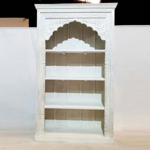 Mehrab Hand Carved Jharokha arch design Solid Wood Large Bookshelf White 126cm